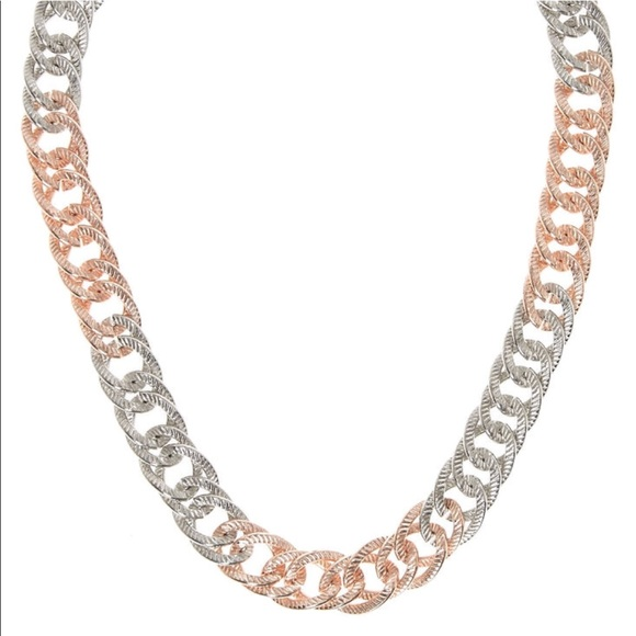 Jewelry - Silver and rose gold tone chunky chain necklace